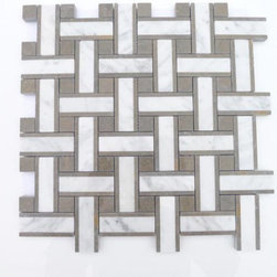 "Twine Vale Mist Marble Tile - Twine Vale Mist Marble Tile This marble mosaic will provide endless design possibilities from contemporary to classic. It creates a great focal point to suit a variety of settings. Chip Size: 2 7/8""x3/4"" Dot: 3/4""x3/4"" Color: Gray and White with Gray Veins Material: Lagos Azul and White Carrera Finish: Polished Sold by the Sheet- each sheet measures 13""x13"" (1.17 sq.ft.) Thickness: 10 mm"