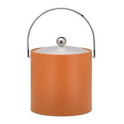 Kraftware - Ice Bucket in Spicy Orange - Chromed bale handle and flat knob. Frosted vinyl lid. Made in USA. 9 in. Dia. x 9 in. H (3 lbs.)Our fun colors collection features the hottest colors for the season, to provide you with great entertaining items, with up to the minute styling. Great for indoor and outdoor entertaining.