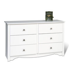 "Prepac - Monterey Condo 6 Drawer Dresser - The Monterey Collection offers a sophisticated look at a fraction of the price. Distinguishing features such as elegantly profiled edges on the tops and drawer fronts, uniquely shaped kickers and antique pewter finished hardware give this ready to assemble collection a stylish elegance. Thoughtful engineering and intelligently grouped production let you enjoy pricing that's well below the cost of traditional prefinished products. This popular Condo 6- Drawer Dresser is specifically designed to fit smaller room sizes and give you the style of a traditional 6- drawer dresser in a compact footprint. It features six spacious drawers that run on smooth, all-metal roller glides with built-in safety stops. Other highlights include dark pewter finished solid metal knobs, a profiled top, side moldings and an arched kick plate. As a higher quality ready-to-assemble product, it is made from durable composite woods, and unlike other RTA furniture, has no plastic edgebanding. Features: -Six full sized drawers.-Profiled top, side moldings, and arched kick plate.-All-metal roller glides for smooth opening.-White finish.-Made of composite woods with dark pewter finished knobs.-Distressed: No.-Country of Manufacture: Canada.-Frame Material: Composite Woods.-Solid Wood Construction: No.-Powder Coated Finish: No.-Gloss Finish: No.-Hardware Material: Metal knobs.-Non Toxic: Yes.-Scratch Resistant: No.-Storage Function: Clothing.-Drawers Included: Yes -Number of Drawers: 6.-Drawer Interior Finish: Unfinished.-Drawer Glide Material: Metal.-Soft Close or Self Close Drawer Glides: No.-Safety Stop: Yes.-Ball Bearing Glides: No.-Drawer Dividers: No.-Felt Lined Drawers: No.-Drawer Handle Design: Knobs..-Exterior Shelves: No.-Clothing Hooks Included: No.-Clothing Rod Included: No.-Cabinets Included: No.-Hardware Finish: Dark pewter finished nickel knobs.-Hidden Storage: No.-Interchangeable Panels: No.-Mirror Included: No.-Hutch Included: No.-Finished Back: No.-Collection: Monterey.-Swatch Available: No.-Commercial Use: Yes.-Recycled Content: No.-Eco-Friendly: Yes.-Product Care: Wipe clean with damp cloth.Specifications: -FSC Certified: No.-EPP Compliant: No.-CPSIA or CPSC Compliant: No.-CARB Compliant: Yes.-JPMA Certified: No.-ASTM Certified: No.-ISTA 3A Certified: Yes.-PEFC Certified: No.-General Conformity Certificate: No.-Green Guard Certified: No.Dimensions: -Overall Product Weight: 101 lbs.-Overall Height - Top to Bottom: 29"".-Overall Width - Side to Side: 48"".-Overall Depth - Front to Back: 16"".-Drawer: -Drawer Interior Height - Top to Bottom: 5"".-Drawer Interior Width - Side to Side: 18.5"".-Drawer Interior Depth - Front to Back: 12.5""..Assembly: -Assembly Required: Yes.-Tools Needed: Hammer & Screwdrivers.-Additional Parts Required: No.Warranty: -Product Warranty: 5 Year Parts Warranty. About the Manufacturer: About Prepac: Founded in 1979, Prepac Manufacturing is a state-of-the-art manufacturer of home furnishings and storage products with its main manufacturing factory located in the heart of the forest-rich province of British Columbia, Canada. Prepac is now one of the largest producers of ready to assemble furniture in Canada, with full-service representation throughout North America. To ensure our customers receive outstanding design and quality at competitive prices, Prepac's design, engineering, production, testing and packaging are all don"