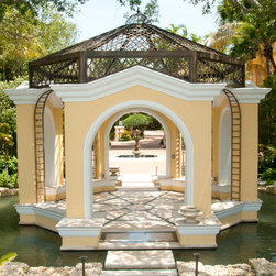 Custom Gazebo - Beautiful custom metal work on gazebo where the pattern is complicated to hand fabricate for consistency. Metalwork on the rooftop and the arched sides are painted in deep bronze. This also included installation.