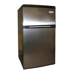 Sunpentown - Double Door Refrigerator - Flush back, compact design is ideal for college dorm room or office. Reversible doors offer versatility. Features separate freezer and fridge compartment, adjustable thermostat and fresh food section.