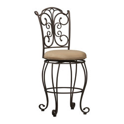 """Linon Home Decor - Linon Home Decor Gathered Back Counter Stool 24 X-U-DK-10-LTM09720 - The elegance and unique style of this 24"""" Gathered Back Counter Stool will carry throughout your kitchen, dining, or home pub area.  Crafted of metal and highlighted with subtle curves and a distinctive back, this stool is a positively striking addition to your home.  The cushion is piled high for extra comfort and covered in a light brown/caramel microfiber.  This stool is elegant and versatile making it the perfect choice for any gathering area.  275 pound weight limit."""