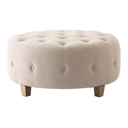 Home Decorators Collection - Farrow Round Tufted Ottoman - Our Farrow Round Tufted Ottoman offers the perfect finishing touch for your sitting area. Prop up your feet, provide extra seating or set a tray across the tufted top to use this lovely piece as an end table. Your choice of upholstery. Button tufted with wood legs.