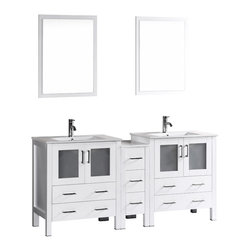 """Bosconi - 72"""" Bosconi AB230U1S Double Vanity, White - Indulge the aesthetic principal with this stunning and spacious 72"""" glossy white Bosconi double vanity set. The integrated ceramic sinks and perfectly coordinating mirrors lend to a polished and efficient design. Features include two spacious cabinets with soft closing doors, as well as, one detached side cabinet with three pull out drawers. Plenty of space to accommodate towels, toiletries and bathroom accessories."""