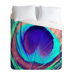 DENY Designs - Shannon Clark Pretty Peacock Duvet Cover - Turn your basic, boring down comforter into the super stylish focal point of your bedroom. Our Luxe Duvet is made from a heavy-weight luxurious woven polyester with a 50% cotton/50% polyester cream bottom. It also includes a hidden zipper with interior corner ties to secure your comforter. it's comfy, fade-resistant, and custom printed for each and every customer.