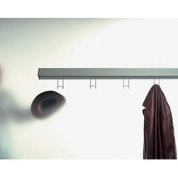 "Metalarte - Metric sconce with hooks - Product description:  The Metric system is designed by Sergi & Oscar Devesa and is produced by Metalarte. Finished in extruded aluminium - silver anodized - Metric features an adjustable diffuser. Hanger and hood - finished in chrome - are optinal. Six sizes available.    Details:                                  Manufacturer:               Metalarte                                  Designer:               Sergi & Oscar Devesa                                  Made in:              Spain                                  Dimensions:                             size 1: l: 11.8"" (30 cm),               size 2: l: 15 3/4"" (40 cm),               size 3: l: 25.6"" (65 cm),               size 4: l: 37.4"" (95 cm),               size 5: l: 49.2"" (125 cm),               size 6: l: 61"" (155 cm)                                                Light bulb:                                           1 : 2 x E12 40W,               2 : 1 x 8W, fluorescent              3 : 1 x 24W, fluorescent              4: 1 x 39W, fluorescent              5: 1 x 54W, fluorescent               6: 1 x 80W  fluorescent                                                Material:               aluminium"