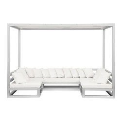 Gandia Blasco - Gandia Blasco Pergola Sofa - Outdoor Structure made of anodized aluminum and shades of plastic fabric.  Removable vinyl fabric cover.  Sofa elevated platform.  Throw cushions included.  Frame available in silver, white, sand, bronze, or tobacco finish.  Manufactured by Gandia Blasco in Spain.  Price includes shipping to the USA.