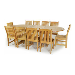 Westminster Teak Furniture - Montserrat 11pc Oval Dining Teak Set - 1 Montserrat Teak Extension Table and 10 Veranda teak dining chairs included in this large Teak Outdoor Dining Set.  Accommodates optional umbrella while expanded or in collapsed configuration.