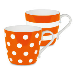 Konitz - Colors Set of 2 Mugs Orange Dots and Stripes - If you're two for tea — or coffee, of course — serve it up in these bone china beauties. The pair of mugs is delicately curved and simply patterned for the ultimate in everyday luxury.
