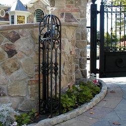 Estate Driveway Gate at Lakefront Lake Hopatcong NJ - Custom Fabricated Aluminum Matching Keypad to Driveway Gate
