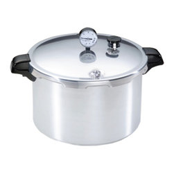 Presto - Aluminum Pressure Canner 16 Qt. - 16 Qt. Aluminum Pressure Canner preserves fruits, vegetables, and meats, fast and easy.  The only method recommended safe for low acid foods by the U.S. Department of Agriculture.  Capacity: 12 half-pints. 10 pints. or 7 quarts.  Extra-strong. warp-resistant aluminum for fast, even heating.  Easy-to-read dial gauge for accurate pressure control.  Doubles as a large capacity pressure cooker.