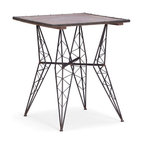 ZUO - Heavy Metal Bistro Table - With inspiration drawn from the Eiffel Tower, the frame of the Heavy Metal Bistro Chair is unmistakable. A square wood table top rests on a rustic black metal frame. Perfect for an urban fire escape.