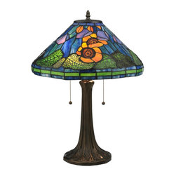 Meyda Tiffany - Meyda Tiffany Poppy Cone Table Lamp X-455911 - From the Poppy Collection, this Meyda Tiffany table lamp features a beautiful floral poppy scene that stands out against a sea of blue and green. The base features traditional styling and two chain pulls for a touch of added class. A Mahogany Bronze finish compliments these details, while the art glass shade pulls the look together.