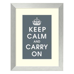 Amanti Art - Vintage Repro 'Keep Calm (charcoal)' Framed Art Print 21 x 27-inch - A slogan created on the eve of WWII by the English is as appropriate today as it was back then. This 'Keep Calm and Carry On' print features the Crown of King George VI set over a charcoal grey background.