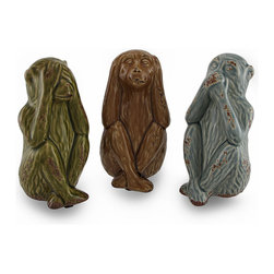Ceramic Hear, Speak, See No Evil Monkey Figurines Set of 3 - This incredibly cute set of 3 colored ceramic statues features striped monkeys in the classic `See No Evil, Hear No Evil, Speak No Evil` pose. In blue, brown and green, each monkey has a glossy crackle finish and rust accents to give them a weathered feel, foam pieces on the bottom to help protect delicate surfaces from scratches, and measure approximately 6 inches high, 2 3/4 inches long and 3 inches wide, and make a great gift for monkey lovers!
