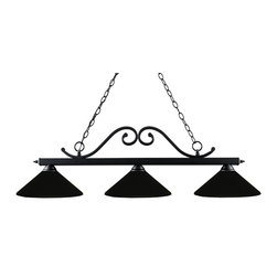Z-Lite - Black Windsor 3 Light Chandelier with Matte Black Metal Shade - Z-Lite 149MB Windsor 3-Light Island Light Windsor 3-Light Island LightAn understated curve motif defines this beautiful three light fixture. This three
