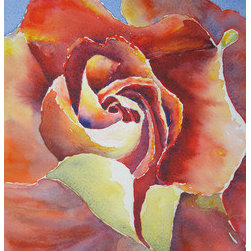 """""""Resplendent Rose"""" (Original) By Corynne Hilbert - This Beautiful Original Watercolor Painting Is 9X12 And Matted And Framed To Approximately 15.5X19 Inches. The Folds Of The Rose Are Memorizing And Calming. The Values Are Perfect, Creating A Three-Dimensional Image Captured In A Two-Dimensional Painting."""