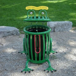 "Paris Equipment 22 Gallon Frog Creature Can Litter Receptacle - Keep the whole scene at the playground fun with the Paris Equipment 32 Gallon Frog Creature Can Litter Receptacle. This steel trash receptacle weighs 200 lbs. so you can be sure it's not going anywhere easily. The unique frog shape of this can will encourage kids to pick up after themselves by making it more fun to put trash in its proper place. The lid of the receptacle serves as the frog's head and features two silly eyes, and a sign that reads, ""Feed me! I love litter!"" The frame is painted bright green with the exception of the frog's long red tongue. His feet add extra stability so he won't tip over.About Paris Equipment Manufacturing Ltd.Rest assured that your green spaces and park areas are in good hands when you add Paris Equipment products to them. Paris knows that community parks are more than just green spaces. They create a sense of well being and community. From benches, such as the Premier, through to picnic tables, litter receptacles and bike racks, Paris Equipment Manufacturing Limited has been built on providing safe, durable furnishings and amenities to make any park memorable."
