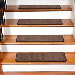 "Dean Flooring Company - Dean Non-Slip Tape Free Pet Friendly Carpet Stair Treads - Luxor, Brown - Quality, stylish ultra premium stair gripper non-slip carpet stair treads by Dean Flooring Company. Extend the life of your high traffic hardwood stairs. Reduce slips/increase traction. Cut down on track-in dirt. Great for pets and pet owners. Made in the USA from quality, long lasting stain resistant 40 oz. plush soft carpeting with non-slip padded foam backing. Stands up great to high traffic. A fresh new look for your staircase. Do-it-yourself installation is quick and easy with our unique non-slip backing. Simply place your stair tread rugs on your staircase and go. No tapes, adhesives, staples, glue, or Velcro needed. And rest assured, they won't move and they won't damage your hardwood either. They are also simple and easy to remove as well with no sticky residue left behind. Each tread is finished on all four sides with attractive color matching binding tape. No bulky fastening strips. You may remove your treads for cleaning and re-attach them when you are done. Set includes 15 pieces. Each tread measures approximately 30"" x 9"". Add a touch of warmth and style to your stairs today with new stair treads from Dean Flooring Company! We make our own stair treads at Dean Flooring Company and our products are not available from anyone else."
