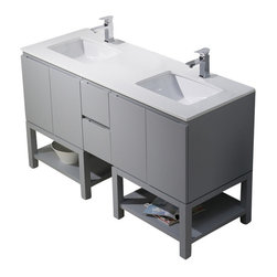 Inolav - Emmet 60 Double Vanity, Metal Gray, White Sink, White Quartz Countertop - The Emmet collection is a celebration of modern and elegant design. The open shelf will transform an ordinary bathroom into your own personal everyday spa. It features an abundance of soft close drawers to keep those small toiletries handy. Add chic style to your home with the sleek look of the Emmet collection.