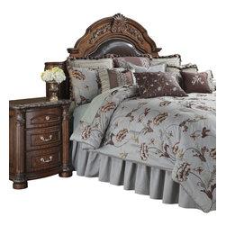 AICO Furniture - Enchantment King 13-piece Comforter Set - Embroidered Floral Motif. Light Blue/Dark Brown Color Scheme. 1 Comforter, 3 Euro Shams, 2 King Size Pillow Shams, 1 Bedskirt (3 Pieces), 6 Decorative Accent Pillows
