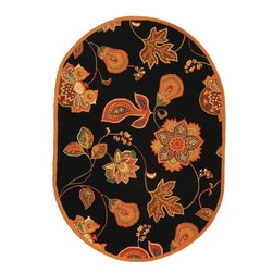 """Safavieh - Chelsea Rug, Black/Orange, 7'-6"""" x 9'-6"""" Oval - 100% pure virgin wool pile, hand-hooked to a durable cotton backing. American Country and turn-of-the-century European designs. This collection is handmade in China exclusively for Safavieh."""