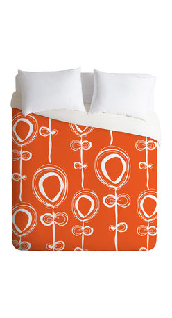 DENY Designs - Rachael Taylor Contemporary Orange Queen Duvet Cover - An orange duvet adds serious wow to your bed. Modern white balloon flowers pop against the bright orange background, giving a lift to your spirits and your bedroom's style.