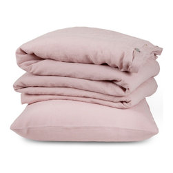 The Linen Works - Cassis Rose Bed Linen Collection - Flat Sheet - Twin, Queen - Our Cassis Rose bed linen is a pretty rose-pink hue, unabashedly feminine and reminiscent of a summer garden.  Pre-washed for maximum comfort, these breathable linen fibers have a heat-regulating quality which encourages good sleep, making this duvet cover cool in summer and warm in winter.