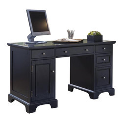 HomeStyles - Pedestal Desk in Black Finish - Two utility drawers. Box drawers and file drawer for legal or letter files on the right side. CPU compartment with shelf and utility drawer to left side. Pull-out keyboard tray in center. Cable accessible. Clear coat finish helps to protect against wear and tear stemming from normal use. Made from Asian hardwood. Made in Thailand. 54 in. W x 24 in. D x 30.25 in. H. Assembly instructionsThe Bedford Pedestal Desk brings an executive desk feel to your home office.