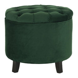 Safavieh - Amelia Tufted Storage Ottoman - Emerald - The quintessential storage ottoman, Amelia is transitional in design with button tufted removable quilted top and oak legs with rich espresso finish. Practical and fashion right, the Amelia tufted ottoman is upholstered in deep green cotton velvet, and striking in living room, family room or master suite.