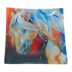 WL - Square Dinner Plate Dishware with Beautiful Noble Spirit Horse Decor - painted dinner plate, horse dinner plate, colorful dishware, glass plate, kitchen decor, stallion