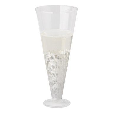 Kathy Kuo Home - Icicle Hollywood Regency White Crosshatch Champagne Flutes - Set of 6 - Classic champagne flutes get a modern update with delicate white crosshatch details. The elegant glasses hold the perfect portion of bubbly for a cheerful toast. A set of six comes together with individual glasses available separately.