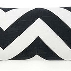 Jiti Pillows Africa ZigZag Decorative Pillow - A black-and-white chevron pillow in this size is hard to find. I love this on a queen-sized bed with a crisp white duvet cover.
