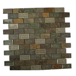 "Roman Collection Emperial Slate Brick Glass Tile - Roman Collection Emperial Slate 1x2 Brick Glass Tile These gorgeous mosaics are hand pressed and hand filled. Each glass chip are hand pressed and then filled with colored crushed glass chips to create an intensely faceted surface that capture and reflects light, making it look like thousands tiny diamonds. Great to use as a back spash; as well as any decorated spot in your home. Chip Size: 1x2 Color: Cream, Forest Green and Multicolor Material: Slate and Porcelain Shell Filled with Crushed Glass Finish: Crackled Glass and Colored Chips Enveloped in Porcelain and Polished Sold by the Square Foot- each sheet measures 12""x12x (1 sq. ft.) Thickness: 8mm"