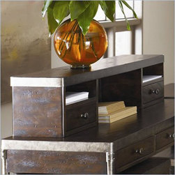 """Hammary - Hammary Structure Office Desk Hutch - There is beauty in simplicity. And seldom does furniture possess more effortless beauty than Hammary's new """"Structure"""" collection. We have stripped away the excesses of modern design and focused on the bare essentials to produce an 11-piece collection that pays tribute to the precision and straightforward creations of the industrial age. Inspired by the stark, utilitarian designs from the early 20th Century, these pieces are crafted from metal and birch veneers and cleverly incorporate materials such as pipes, rivets, scythed wood, wheels and metal banding. Table tops are banded in metal - an idea borrowed from heavy-duty industrial trolleys - to create a unique touch of style and to enhance durability. Meanwhile, the heavily distressed finish creates a well-worn feel that will transform any room. This versatile group includes occasional tables and home office pieces, as well a media console and a rolling desk chair. Especially interesting is the vintage artist's easel, which comes with a universal mounting plate and has been repurposed to hold a flat-screen TV. Sometimes, sophistication comes in the most simple of designs. """"Structure"""" from Hammary. - T30020-T3002087-00.  Product features: Two Small Drawers; Two Small Cubby Areas W12"""" x D9"""" x H3""""; One Large Opening: W20.5"""" x D8.5"""" x H8.5"""". Product includes: Hutch (1). Office Desk Hutch belongs to Structure Collection by Hammary."""