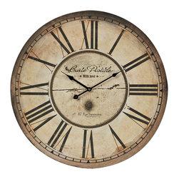 Carte Postal Clock With Antique Cream Metal Frame - *Dimensions: 1L x 20W x 23.6H