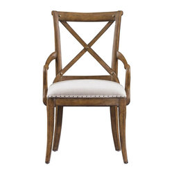 Stanley Furniture - European Farmhouse Fairleigh Fields Host Chair, Blond - This European Farmhouse Fairleigh Fields Host Chair designed to provide the comfort one always need. This piece is supported across the back with bridle-like bowed slats, the curved design cradles your back and shoulders with smooth support. It is also provided with generous armrests that are ease out from both sides. It has trim; peg-style legs continue the curve into the floor. They all are in support of the double-padded, antique brass-rimmed cushioned seat.