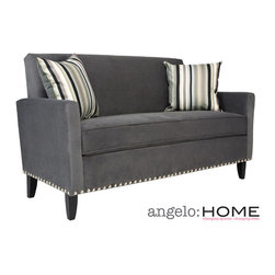 ANGELOHOME - angelo:HOME Sutton Antique Silver Gray Sofa with a Mid Century Black Stripe Pill - This angelo:HOME Sutton sofa was designed by Angelo Surmelis. The Sutton sofa has a slightly flared arm and is covered in a plush silver gray ribbed velvet fabric.