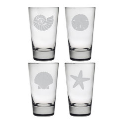 Susquehanna Glass - Seashore Hiball Glass, 15.5oz, S/4 - Each 15.5 ounce heavy based tumbler features a different sand etched emblem of the sea, including a fan shell, star fish, sand dollar and nautilus shell. Dishwasher safe. Sold as a set of four. Made and decorated in the USA.