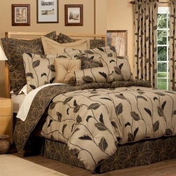 Duvet Covers - The color palette is rich and earthy. Done in multiple shades of brown with touches of black, Yvette pairs an open vine and leaf design with an all-over tossed leaf pattern. Decorative pillows and Euro shams, in prints and a coordinating solid fabric, complete the look. Made in U.S.A. Comforter sets also available.