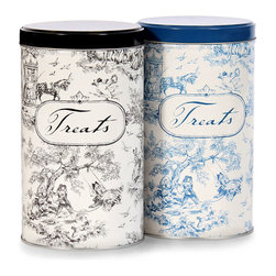 Dog Toile Treat Tins - Black - Straight walls and a tight-fitting lid are among the practical design details of the Dog Toile Treat Tin, but the graceful blue toile pattern devised to adorn it is an especially sumptuous aspect of the space-saving, freshness-preserving lidded container. Made from recycled steel, this practical piece conveys ecological responsibility as well as a taste for the European history of design.