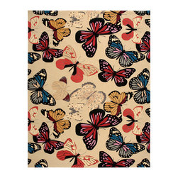 """Nourison - Nourison Fantasy FA20 1'9"""" x 2'9"""" Beige Area Rug 10995 - Take a flirtatious flight of fancy with this vividly-colored transitional butterfly rug that's meticulously crafted from high-density, hand-hooked yarns and exquisitely hand-carved for sumptuous texture and dimension. Its bold graphic print, a study of black, red, orange, green, beige, white, and blue, is certain to enliven any space."""