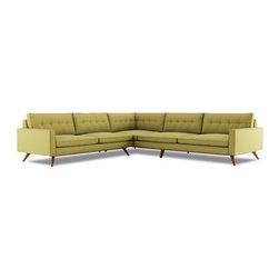 Taylor L Shape Sectional - Sectional Taylor L Shape Sectional features flared solid wood base, button tufting and full body welting
