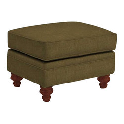 Broyhill - Broyhill Larissa Green Olive Ottoman with Cherry Wood Finish - Broyhill - Ottomans - 61125Q - About This Product: