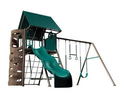 Lifetime - Heavy-Duty Metal Playset w Clubhouse in Earth - Includes 2 belt swings, a trapeze swing, a propeller swing, an activity chalkboard, a cargo net, a climbing wall, a wavy slide, a look-out deck with a captain's wheel, over-sized binoculars, and a rigid polyethylene roof. Materials made of UV-protected high-density polyethylene (HDPE) plastic and powder-coated steel. Free standing (no cement required). Assembly required. 5-Year limited factory warranty.