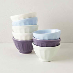 Anthropologie - Mini Latte Bowls, Lavender, Set of 8 - I want these mini latte bowels in shades of lavender and purple.