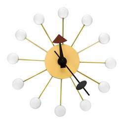 Inova Team -Modern Beech Wood White Wall Clock - Add a splash of funky, retro fun with this dotty wall clock. Lightweight and easy to hang, it's constructed from beech wood with a quartz-powered movement that will keep ticking for years to come.