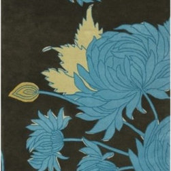 "Amy Butler - Chrysanthemum Wool Rug by Amy Butler - The Amy Butler Chrysanthemum Wool Rug is a modern take on one of textile designer Amy Butler's favorite fabrics. The lush result includes intricate depictions of blue mums with creamy ivory accents set against a deep charcoal background. This organic design is rich and touchably lush, hand-tufted out of 100% high quality New Zealand wool.Pattern designer Amy Butler teams up with boutique rug company Chandra to bring her fabric and bedding prints to life in handmade (fair trade and sustainable) rugs. Made from 100% hand-tufted and dyed New Zealand wool, Amy Butler rugs offer both a sense of the exotic and a welcoming ""take your shoes off and stay awhile"" attitude.Chandra area rugs have rapidly become known for tradition, heritage and quality of the handmade Indian rug. Designers Thomas Paul, Amy Butler, and Mary Agan have created a unique collection of area rugs that has become one of the most eclectic, quality lines in the industry.The Amy Butler Chrysanthemum Wool Rug is available with the following:Details:High quality, New Zealand woolHand-tufted pileTraffic Meter Level 4Made in IndiaDesigned by Amy ButlerOptions:Size: 2' x 3', 5' x 7'6, or 7'9 x 10'6.Please Note:Some difference in color, size or shape is consistent with the nature of handmade rugs and does not reflect a defect in the product.Shedding is part of the natural wear-in process and is also characteristic of fine wool.Regular vacuuming is a carpet's best friend. A suction only canister vacuum is best, if not available set the vacuum so the brush is farthest away from the surface of the carpet to prevent excess pilling and fuzzing on loop piles.Blot spills immediately with a clean, absorbent cloth. Scoop up solids.Clean regularly by a certified professional cleaner.Shipping:This item ships in approximately 2 business days."