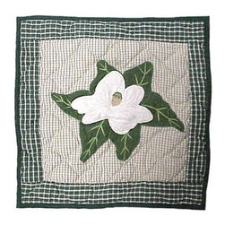 Patch Magic - Magnolia Blossoms Toss Pillow - 16 in. W x 16 in. L. 100% Cotton. Machine washable.. Line or flat dry onlyDecorative applique Quilted Pillow.