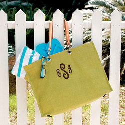 Ballard Designs - Monogrammed Jute Carry-All - Our Monogrammed Jute Carry-All is packed with style and priced to go. Handmade of natural jute with sturdy leather handles that attach with leash clips. Inside zipper pocket holds keys and necessities. Generous interior is latex lined, so you can even take it to the beach. *Free monogramming available on one side.*Allow 3 to 5 days for monogramming plus shipping time.*Please note that personalized items are non-returnable.